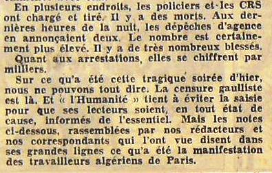 commémoration du 17 octobre 1961 - Page 2 06-_L_Humanite_18_octobre